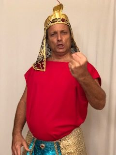 David Presler as the Egyptian Pharaoh